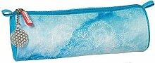 Pencil Case Round-Stoff-Blau - Mandala, Brunnen,