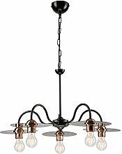 Pendel-Leuchte Decken-Leuchte aus Metall E27 Hänge-Leuchte (Farbe: Schwarz) Vintage Industrieleuchte Wohnzimmerlampe Modern Wohnzimmer mit Kette Vintagelampe für Wohnzimmer / Küche / Büro / Praxis
