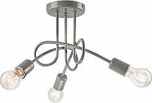 Pendel-Leuchte Decken-Leuchte aus metall E27 Hänge-Leuchte (Farbe: Grau) Vintage Industrieleuchte Wohnzimmerlampe Modern Wohnzimmer Vintagelampe für Wohnzimmer / Küche / Büro / Praxis