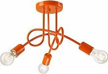 Pendel-Leuchte Decken-Leuchte aus metall E27 Hänge-Leuchte (Farbe: Orange) Vintage Industrieleuchte Wohnzimmerlampe Modern Wohnzimmer Vintagelampe für Wohnzimmer / Küche / Büro / Praxis