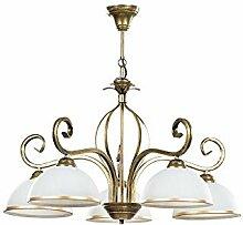 Pendelleuchte in Gold antik Weiß 5-flammig Glas