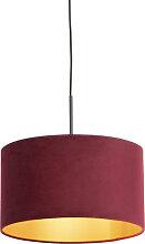Pendelleuchte mit Veloursschirm rot/gold 35 cm -