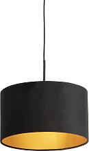 Pendelleuchte mit Veloursschirm schwarz/gold 35 cm