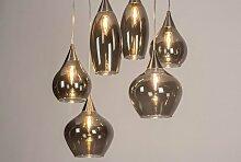 Pendelleuchte Modern Glas Edelstahl Metall Grau