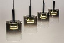 Pendelleuchte Modern Glas Klares Metall Schwarz