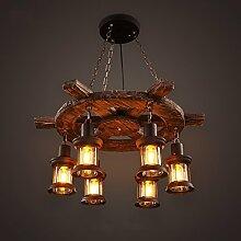Pendelleuchten Kreative Retro Kronleuchter Coffee Shop Bekleidungsgeschäft Leuchten Massivholz Wohnzimmer Kronleuchter ( Farbe : A )