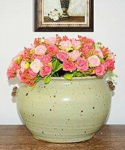 PENGFEI Pflanzen-Topf Keramik Blumentopf Amerikanisches Dorf Retro Wohnzimmer Sukkulenten Pflanzen Pot Home Zubehör Dekoration Blumenbehälter ( Farbe : 2 pieces , größe : 25*15.5cm )