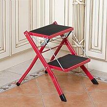 PENGFEI Treppenleiter Faltbare Treppe Stufenleiter Trittleiter Multifunktion Zuhause Küche Bibliothek 2 Schritte, Metall 3 Farben Hoch 41,5 CM ( Farbe : Rot )