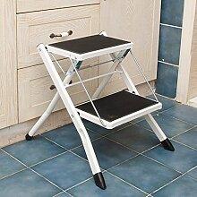 PENGFEI Treppenleiter Faltbare Treppe Stufenleiter Trittleiter Multifunktion Zuhause Küche Bibliothek 2 Schritte, Metall 3 Farben Hoch 41,5 CM (Farbe : Weiß)