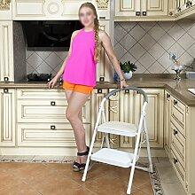 PENGFEI Treppenleiter Treppe Faltbare Multifunktion Mit Armlehnen Zuhause Küche 2 Schritte, Praktisch Metall 3 Farben Hohe 82,5 CM (Farbe : Weiß)