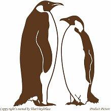 Penguin. Pinguine (55 cm x 68 cm braun Badezimmer Childs Schlafzimmer Kinder Zimmer Aufkleber, Vinyl, Fenster und Wand Aufkleber, Wand Windows-Art Wandaufkleber aus Vinyl, Dekoration, ThatVinylPlace Aufkleber