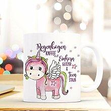 PEP Tasse Becher Einhorn mit Spruch Regenbogen