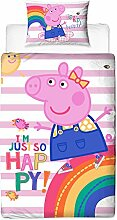 Peppa Pig Friends gestreift Bettbezug mit