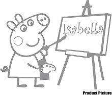 Peppa Pig mit Ihrem gewählten Namen 60cm x 50cm Farbe wählen 18Farben auf Lager Schmetterling, personalisierbar, Name, jeder Name, Childs Schlafzimmer, Kinder Zimmer Aufkleber, Auto Vinyl-, Windows und Wandtattoo, Wall Windows Art, Decals, Ornament Vinyl Aufkleber 4printer Grau