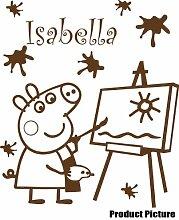 Peppa Pig mit Ihrem gewählten Namen 60cm x 52cm Farbe Wählen 18Farben auf Lager Namen, Name personalisiert, Childs Schlafzimmer, Kinder Zimmer Aufkleber, Auto Vinyl-, Windows und Wandtattoo, Wall Windows Art, Decals, Ornament Vinyl Aufkleber 4printer braun