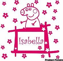 Peppa Pig mit Ihrem gewählten Namen 60cm x 60cm Farbe wählen 18Farben auf Lager Blumen, Blumen, Namen, Name personalisiert, Childs Schlafzimmer, Kinder Zimmer Aufkleber, Auto Vinyl-, Windows und Wandtattoo, Wall Windows Art, Decals, Ornament Vinyl Aufkleber 4printer Blush