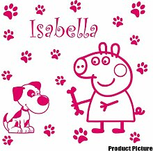 Peppa Pig mit Ihrem gewählten Namen 60cm x 60cm Farbe wählen 18Farben auf Lager Hund, Blumen, Blumen, Namen, Name personalisiert, Childs Schlafzimmer, Kinder Zimmer Aufkleber, Auto Vinyl-, Windows und Wandtattoo, Wall Windows Art, Decals, Ornament Vinyl Aufkleber 4printer Blush