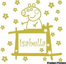Peppa Pig mit Ihrem gewählten Namen 60cm x 60cm Farbe wählen 18Farben auf Lager Blumen, Blumen, Namen, Name personalisiert, Childs Schlafzimmer, Kinder Zimmer Aufkleber, Auto Vinyl-, Windows und Wandtattoo, Wall Windows Art, Decals, Ornament Vinyl Aufkleber 4printer Gold metallic