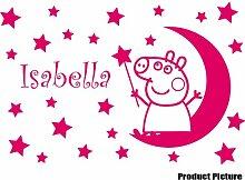 Peppa Pig mit Ihrem Wunsch-Namen - 60 cm x 40 cm, erhältlich in 18 Farben, Mond, Sterne, personalisierbar, name, Kinderzimmer, Kind-Raum-Aufkleber Auto Vinyl Aufkleber, Wand, Fenster und Wand Windows-Art Aufkleber, Ornament-Vinylaufkleber 4Printer Blush