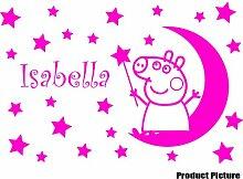 Peppa Pig mit Ihrem Wunsch-Namen - 60 cm x 40 cm, erhältlich in 18 Farben, Mond, Sterne, personalisierbar, name, Kinderzimmer, Kind-Raum-Aufkleber Auto Vinyl Aufkleber, Wand, Fenster und Wand Windows-Art Aufkleber, Ornament-Vinylaufkleber 4Printer rose