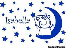Peppa Pig mit Ihrem Wunsch-Namen - 60 cm x 40 cm, erhältlich in 18 Farben, Mond, Sterne, personalisierbar, name, Kinderzimmer, Kind-Raum-Aufkleber Auto Vinyl Aufkleber, Wand, Fenster und Wand Windows-Art Aufkleber, Ornament-Vinylaufkleber 4Printer azurblau