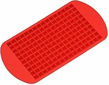 Per 160 Tiny Ice Squares Silikon-Eis-Würfel-Hersteller-Eiswürfelformen und Tabletts Küchenhelfer Küchenaccessoires Küchenhelfer für Backzutaten (rot)
