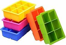 Per Neue Solid Color 6-Quadrat-Silikon-Eis-Form-Eis-Süßigkeit-Eiscreme-Schokoladen-Pudding-Würfel-Hersteller Eiswürfelformen und Tabletts Küchenhelfer Küchenaccessoires Küchenhelfer für Backzutaten