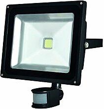 Perel LED-strahler für den aussenbereich mit pir-sensor, 50 W epistar chip, 3000 K, 29 x 29,5 x 14,5 cm, schwarz, LEDA3005WW-BP