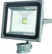 Perel LED-strahler für den aussenbereich mit pir-sensor, 50 W epistar chip, 3000 K, 29 x 29,5 x 14,5 cm, grau, LEDA3005WW-GP