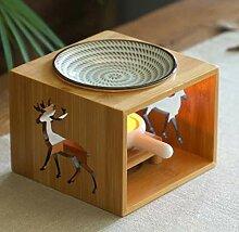 Perf-Lee Bambus Holz Hohl Duftlampe Ölofen Aroma