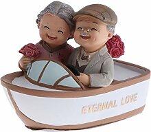 perfeclan Süße Gartenfigur Opa und Oma auf Bank