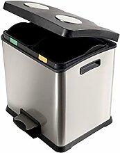 Perfekt 0468A Recycle Mülleimer Mülltrennung, 2x 12LT. Edelstahl