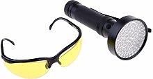 perfk UV Schwarzlicht Taschenlampe mit Schutzbrille