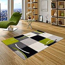 Pergamon Designer Teppich Maui Schwarz Grün Karo