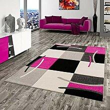 Pergamon Designer Teppich Maui Schwarz Pink Karo