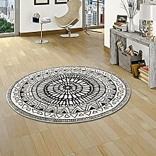 Pergamon Designer Teppich Sevilla Mandala Schwarz