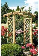 Pergola / Rosenbogen mit Rankgitter / Rankhilfe aus Holz mit Bogenverlauf und einer Durchgangsbreite von 100 cm aus druckimprägnierten Holz