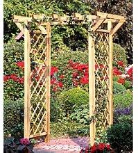 Pergola / Rosenbogen mit Rankgitter / Rankhilfe aus Holz und einer Durchgangsbreite von 100 cm aus druckimprägnierten Holz