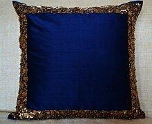 Perlen Kissen–Marineblau Kissenbezug mit Gold Pailletten und Perlen Details–Dekorative Kissenbezug–Marineblau Blau Kissen–Gold Pailletten Bead Kissenbezug–Regal Metallic Kissenbezug, Seide, blau, 45 x 45 cm