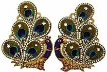 Perlen Pailletten indische Pfau Applikationen liefern Crafting Mehrfarben für 1 Paar