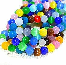 Perlin - 2 Stränge Katzenauge Perlen Glas 6mm Mix