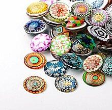Perlin - 20Stk Glas Cabochon Mosaik Mix Set 25mm