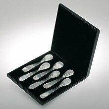 Perlmutt Eierlöffel 6 Stück in Schatulle für