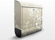 Perlmutt Ornament Design 39x46x13cm Briefkasten, Standbriefkasten, Briefkästen, Dekorationen, Schnörkel, Wirbel, Blatt, Strukturen