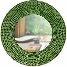 Perlmutt Wandspiegel Diana - rund - grün
