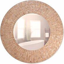 Perlmutt Wandspiegel Eva - rund - weiß