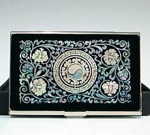 Perlmutt Yin Yang Symbol Design Visitenkartenetui schwarz aus Metall Edelstahl Gravur Slim Geldbörse Geld