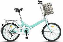 Permanente Faltrad Fahrrad 20 Zoll Männer Und Frauen Studenten Fahrrad Erwachsene 16 Zoll Kinder Fahrrad Ultraleichte Geschenk Auto,Green-16in