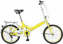 Permanente Faltrad Fahrrad 20 Zoll Männer Und Frauen Studenten Fahrrad Erwachsene 16 Zoll Kinder Fahrrad Ultraleichte Geschenk Auto,Yellow-16in