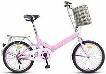 Permanente Faltrad Fahrrad 20 Zoll Männer Und Frauen Studenten Fahrrad Erwachsene 16 Zoll Kinder Fahrrad Ultraleichte Geschenk Auto,Pink-16in